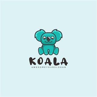 Modello di logo di stile cartone animato mascotte affari koala ko