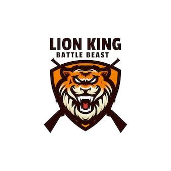 Modello di logo di stile mascotte semplice re leone