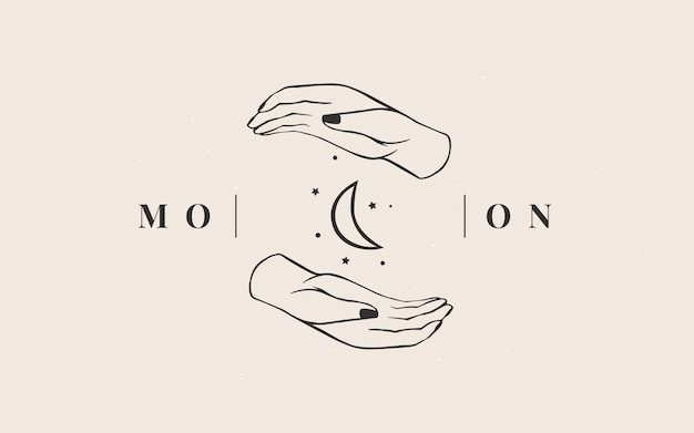 Modello di logo. logotipo magico industria astrologica esoterica.