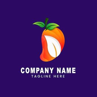 Modello di logo della foglia di combinazione di mango con colori sfumati