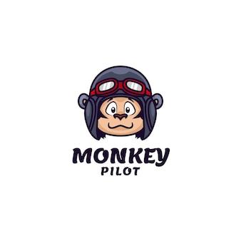 Modello di logo di monkey pilot simple mascot style