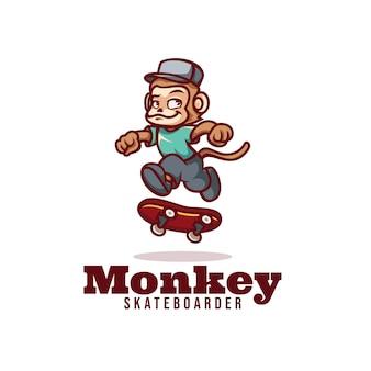 Modello di logo dello stile del fumetto della mascotte dello skateboarder della scimmia.
