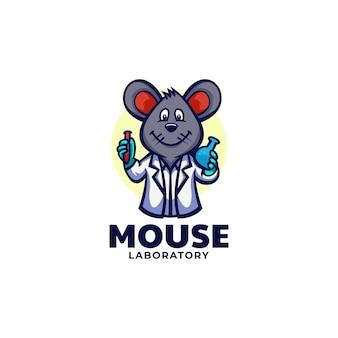 Modello di logo della mascotte del laboratorio del topo in stile cartone animato