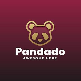 Modello di logo di panda gradient line art style
