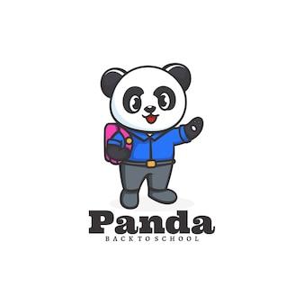 Modello di logo dello stile del fumetto della mascotte della scuola del panda.