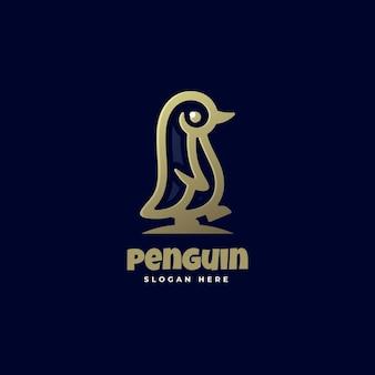 Modello di logo di penguin line art style