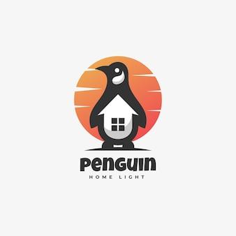 Modello di logo di penguin negative space style