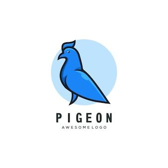 Modello di logo piccione semplice mascotte logo colorato