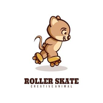 Modello di logo dello stile del fumetto della mascotte del topo del pattino a rotelle.