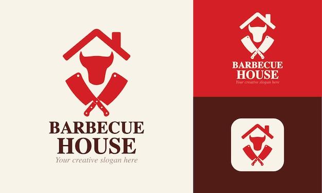Modello di logo per un ristorante steak house