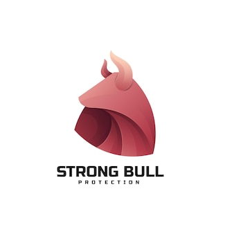 Modello di logo di strong bull gradient colorful style