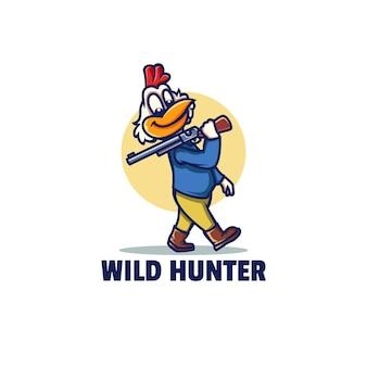 Modello di logo di wild hunter mascotte in stile cartone animato