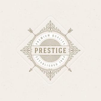 Modello di logo con svolazzi calligrafici eleganti elementi di ornamento.