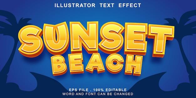 Modello editabile della spiaggia di tramonto di effetto del testo di logo