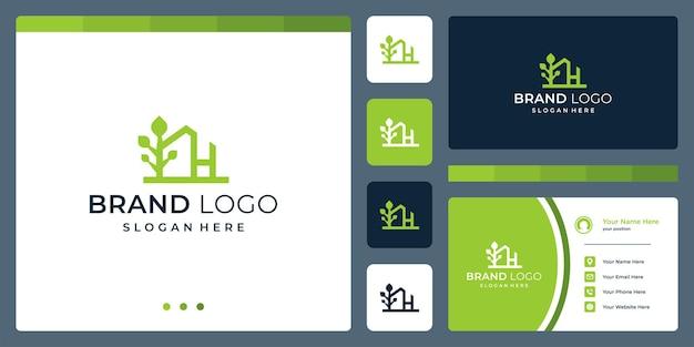 Logo che combina le forme di una casa e una forma astratta di albero. e lettera h. biglietti da visita.