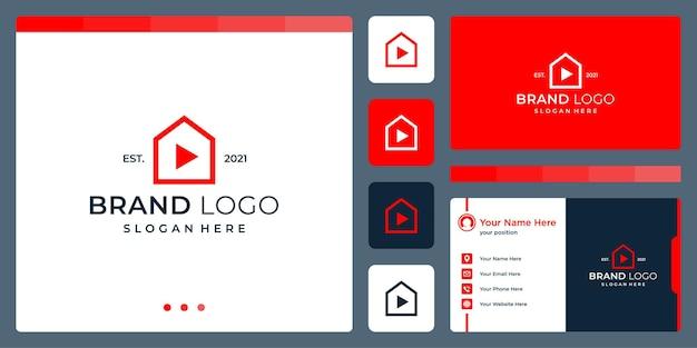 Logo che combina le forme della casa e il video astratto e il pulsante di riproduzione. biglietti da visita.