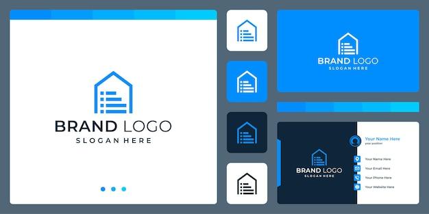 Logo che combina le forme della casa e il documento. biglietti da visita.