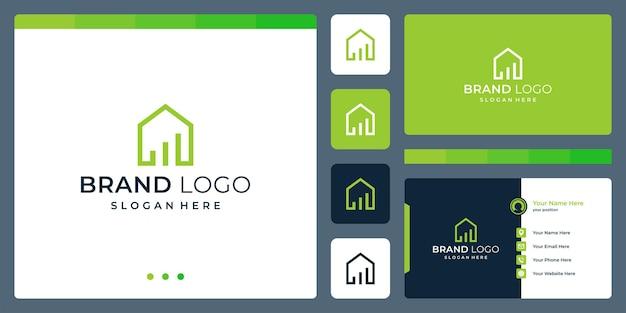 Logo che unisce le forme della casa e l'investimento. biglietti da visita.
