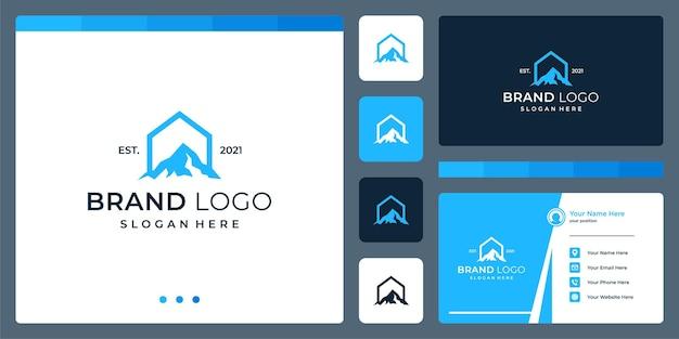 Logo che unisce le forme della casa e la montagna. biglietti da visita.