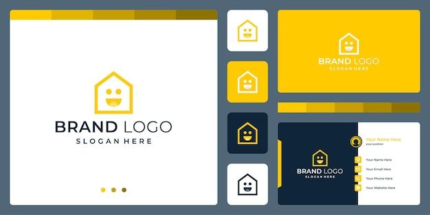 Logo che combina le forme della casa e i simboli del sorriso. biglietti da visita.
