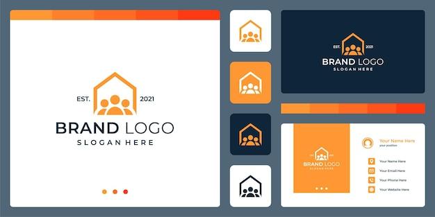 Logo che unisce le forme della casa e il lavoro di squadra. biglietti da visita.