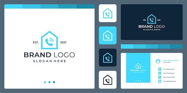 Logo che unisce le forme della casa e il telefono. biglietti da visita.
