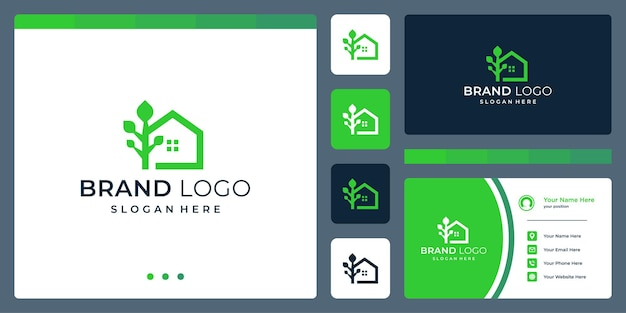 Logo che combina le forme della casa e l'albero. biglietti da visita.