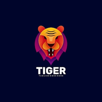 Logo tiger gradient colorful style.