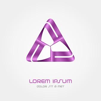 Modello astratto di logo triangolo affari, logotipo infinito in loop hi tech,