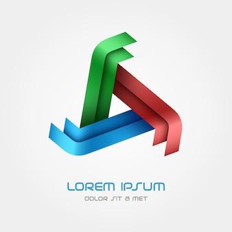 Modello triangolo logo, logotipo in loop. Vettore Premium