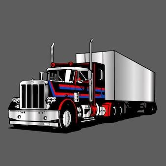 Grande illustrazione del contenitore del rimorchio del camion di logo