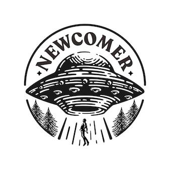 Logo ufo rapisce un essere umano in un design retrò