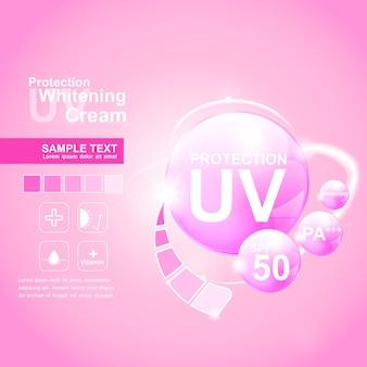 Logo di protezione uv per modello di prodotti per la cura della pelle di poster.