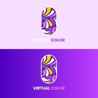 Logo virtuale colore viola vettoriale. adatto per il tuo logo divertente