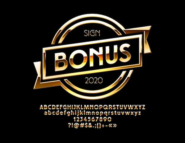 Logo con testo bonus set di numeri di lettere dell'alfabeto dorato e simboli di punteggiatura