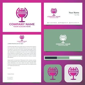 Logoiniziale lettera h si combina con il globo nel biglietto da visita premium vector logo premium