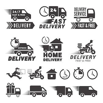 Set di loghi di servizio di consegna veloce.