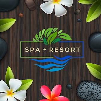 Logotipo per resort spa o business di bellezza, logo design, illustrazione.