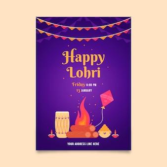 Lohri poster modello design piatto