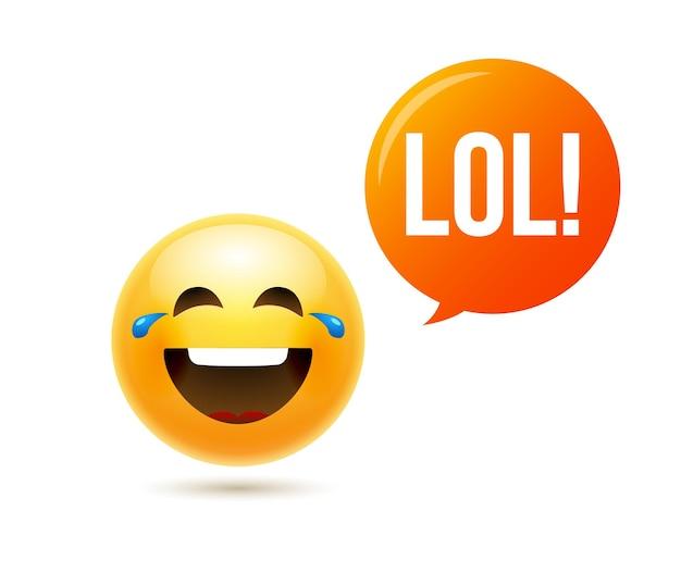 Lol emoji icona sorriso faccia. emoticon scherzo felice fumetto divertente lol emoji illustrazione.