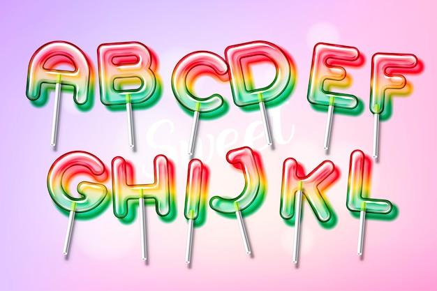 Carattere alfabeto colorato caramella dolce lecca-lecca con trasparenza e ombre