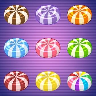 Lecca-lecca caramelle colorate per match 3 gioco in stile carino.
