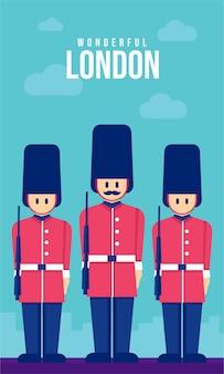 Illustrazione di poster piatto dell'esercito di londra
