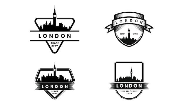 Logo distintivo di londra. sagoma di skyline e punti di riferimento di londra