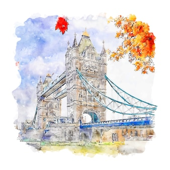 Illustrazione disegnata a mano di schizzo dell'acquerello di london bridge regno unito
