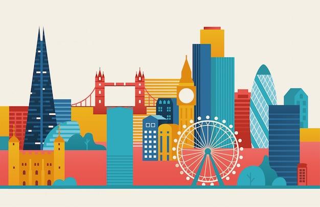 Illustrazione della città di londra. skyline di londra.