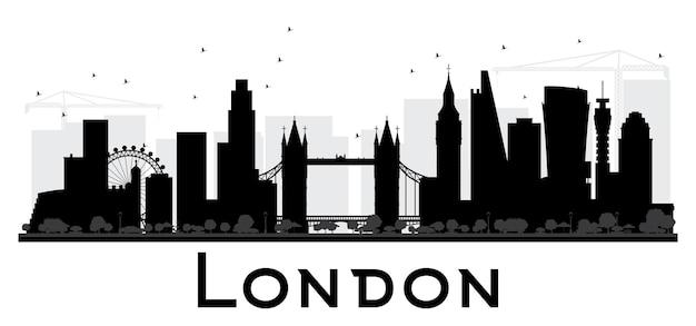 Siluetta in bianco e nero dell'orizzonte della città di londra. semplice concetto piatto per presentazione turistica, banner, cartellone o sito web. paesaggio urbano con punti di riferimento. illustrazione vettoriale.