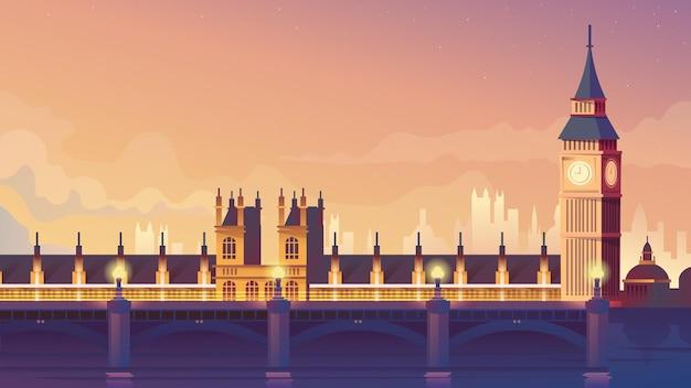 Illustrazione di stile del fumetto piatto di londra di sfondo web