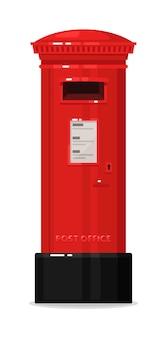 Pilastro verticale della cassetta postale della posta rossa di londra isolato su bianco