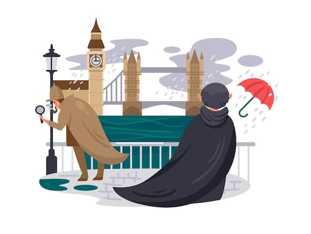 London river embankment persone sotto la pioggia sul lungomare illustrazione vettoriale